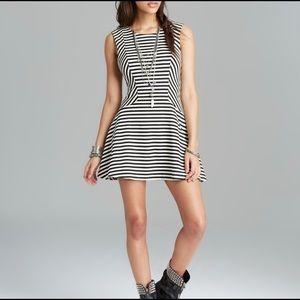 Free People Cha Cha Striped Skater Mini Dress
